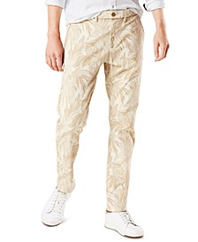 Men's Slim-Fit Smart 360 Flex Stretch Cropped Leaf Printed Chinos