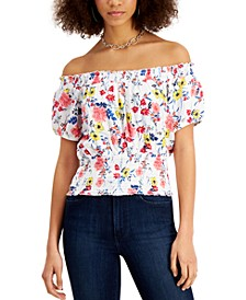Juniors' Printed Smocked Off-The-Shoulder Top