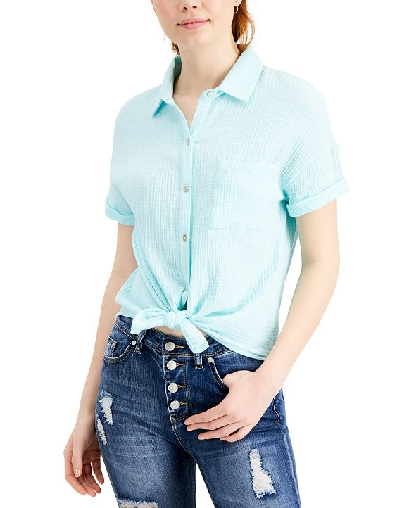 Self Esteem Juniors' Relaxed Button-Up Top