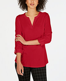 Charter Club Supima® Cotton Split-Neck Top, Created for Macy's