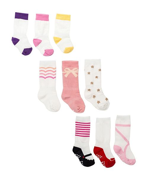 Cheski Sock Company Baby Girls Grow with Me Bundle Socks, Pack of 9