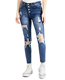 Button-Fly Shredded Jeans