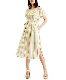 Ruffled Off-The-Shoulder Dress, Regular & Petite Sizes