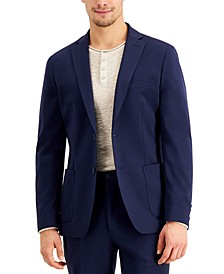 Men's Slim-Fit Stretch Navy Blue Suit Jacket