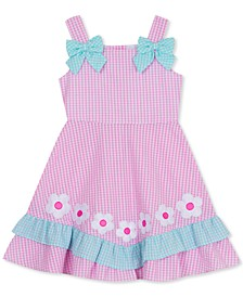 Little Girl Gingham Flowers & Bows Dress