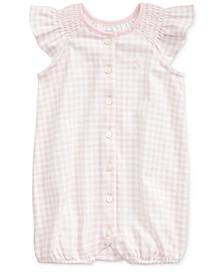 Baby Girls Flutter-Sleeve Cotton Bubble Shortall