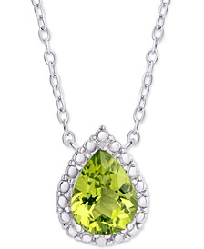 "Peridot (1 ct. t.w.) & Diamond Accent Teardrop Halo 18"" Pendant Necklace in Sterling Silver"