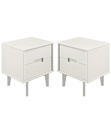 2-Drawer Groove Handle Wood Nightstand