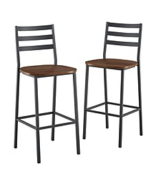 Industrial Slat Back Counter Stools, 2-Pack