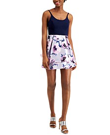 Juniors' Solid & Floral Satin Skater Dress