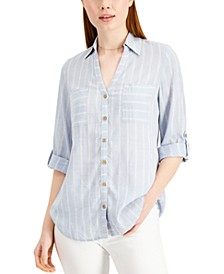 Juniors' Striped Button-Front Shirt