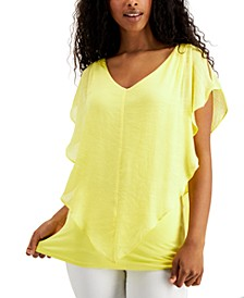 Juniors' Crochet-Trimmed Flutter Popover Top