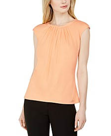 Cap-Sleeve Pleat-Neck Top