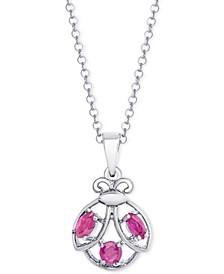 "Ruby Ladybug 18"" Pendant Necklace (3/8 ct. t.w.) in Sterling Silver"