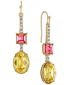 Gold-Tone Multicolor Crystal Stick Drop Earrings