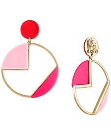 Gold-Tone Multicolor Geometric Circle Drop Clip-On Earrings