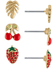 Gold-Tone 3-Pc. Set Tropical Stud Earrings