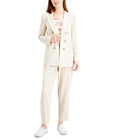 Double-Breasted Peak-Lapel Blazer, Toile Ruffled Top & Button-Front Pants, Created for Macy's