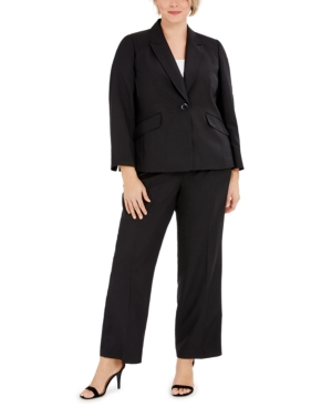 Plus Size One-Button Notched-Collar Jacket and Pant Suit