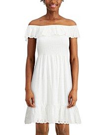Juniors' Eyelet-Ruffled Smocked Dress