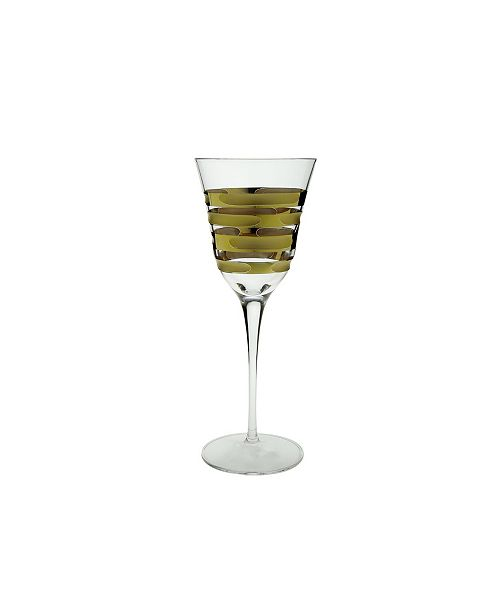 Classic Touch Water Glass with 14K Gold Brick Design, Set of 6