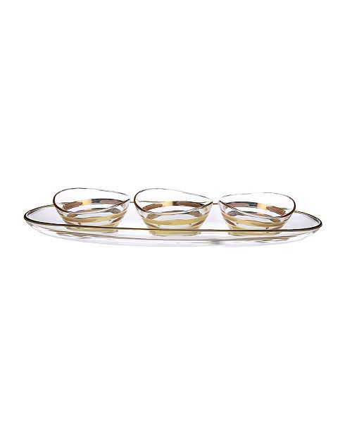 Classic Touch Bowl Relish Dish on Tray with 14K Gold Brick Design