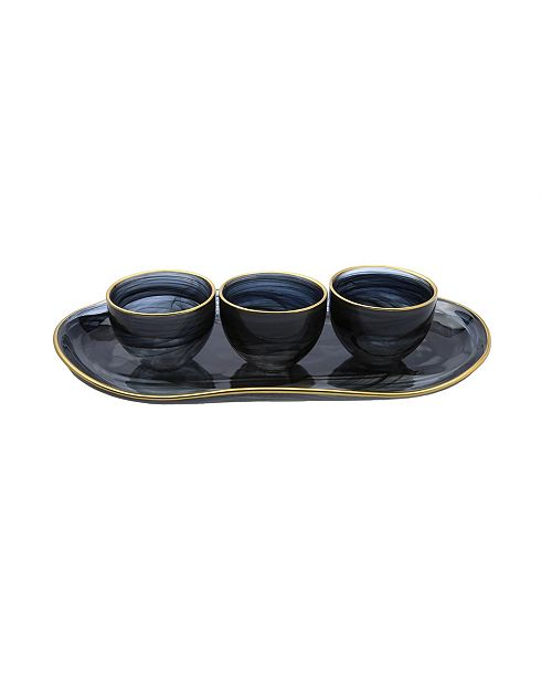 Classic Touch Relish Dish Bowl with Tray