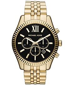 Men's Chronograph Lexington Gold-Tone Stainless Steel Bracelet Watch 45mm MK8286