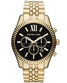Michael Kors Men's Chronograph Lexington Gold-Tone Stainless Steel Bracelet Watch 45mm MK8286