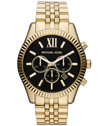 michael kors mens watches macy s michael kors men s chronograph lexington gold tone stainless steel bracelet watch 45mm mk8286