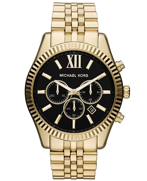 b91f84f909ba Michael Kors Men s Chronograph Lexington Gold-Tone Stainless Steel Bracelet  Watch 45mm MK8286 ...