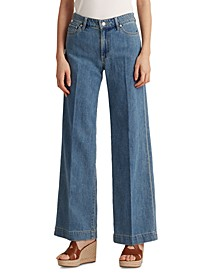 Lauren Ralph Lauren Wide-Leg Jeans,Light Authentic Wash