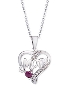"Ruby Mom Heart 18"" Pendant Necklace (1/3 ct. t.w.) in Sterling Silver"
