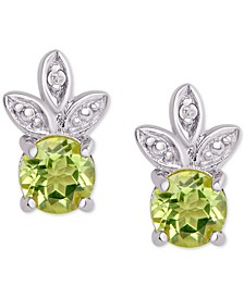 Peridot Flower Stud Earrings (1/2 ct. t.w.) in Sterling Silver