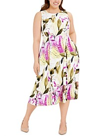 Plus Size Sleeveless Floral-Print Fit & Flare Dress, Created for Macy's