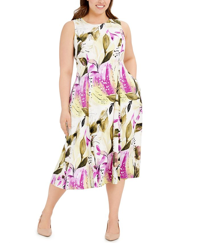 Alfani - Plus Size Sleeveless Floral-Print Fit & Flare Dress
