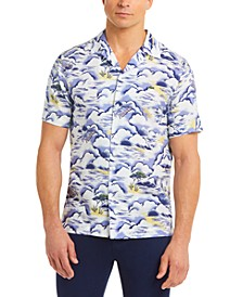 Men's Regular-Fit Graphic Print Twill Short Sleeve Shirt
