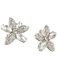 Crystal Flower Button Earrings