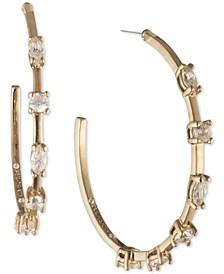 """Gold-Tone Crystal Medium Hoop Earrings, 1.2"""""""