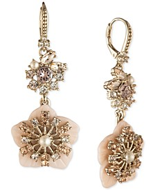 Gold-Tone Crystal & Imitation Pearl Flower Double Drop Earrings