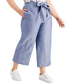 Plus Size Wide-Leg Tie-Waist Pants