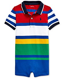 Baby Boys Striped Cotton Mesh Polo Shortall