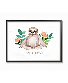 "Take it Easy Peach Floral Sloth Watercolor Framed Giclee Art 16"" L x 1.5"" W x 20"" H"