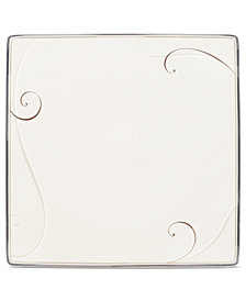 Noritake Dinnerware, Platinum Wave Square Dinner Plate