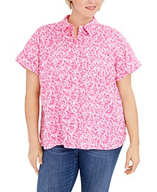 Plus Size Floral-Print Button-Down Camp Shirt, Created for Macy's