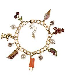 Gold-Tone Pavé & Imitation Pearl Summer BBQ Charm Bracelet, Created for Macy's