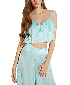 GUESS Desta Ruffled Crop Top