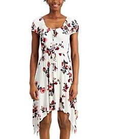 Juniors' Floral Handkerchief-Hem Dress