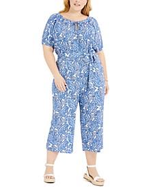 Plus Size Paisley Keyhole-Neck Jumpsuit