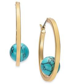 "Gold-Tone Medium Stone Ball Hoop Earrings, 1.5"", Created for Macy's"